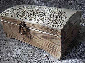 Krabičky - Šperkovnice velká s reliéfní mandalou - 11163859_