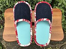 Obuv - Tyrkysovo-riflové papuče - 11163535_