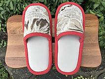 Obuv - Béžové vzorované papuče z poťahovky - 11163593_
