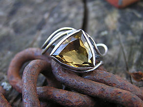 Prstene - Strieborny prsteň Ag 925 Citrín - 11162060_