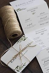 Papiernictvo - SKLADAČKA na svadobný stôl - menu/program/nápojový lístok - 11163046_