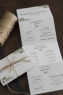 Papiernictvo - SKLADAČKA na svadobný stôl - menu/program/nápojový lístok - 11163047_