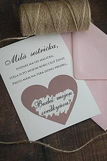 Papiernictvo - Stieracia pozvánka pre svedkyňu - ružová - 11163702_