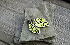 Náušnice - Maľované drevené lístky - 11161490_