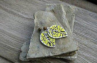 Náušnice - Maľované drevené lístky (č. 2907) - 11161490_