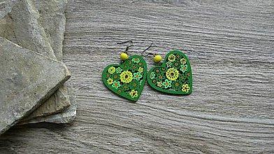 Náušnice - Drevené maľované srdiečka (č. 2911) - 11161586_