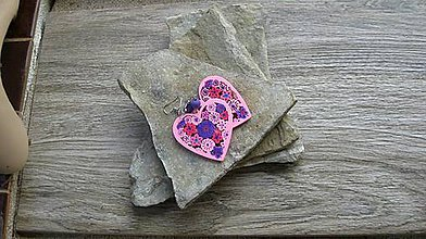 Náušnice - Drevené maľované srdiečka (č. 2912) - 11161613_