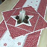 Úžitkový textil - SALOMA - strieborno vínová hviezdna kombinácia - obrúsok štvorec 40x40 - 11164013_
