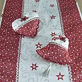 Úžitkový textil - SALOMA - strieborno vínová hviezdna kombinácia - vianočné srdiečko 13x13 - 11164393_