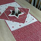 Úžitkový textil - SALOMA - strieborno vínová hviezdna kombinácia - behúň 130x40 - 11164436_
