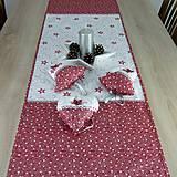Úžitkový textil - SALOMA - strieborno vínová hviezdna kombinácia - behúň 130x40 - 11164440_