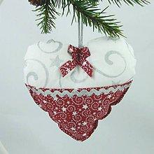 Úžitkový textil - SALOMA - strieborno vínová hviezdna kombinácia - vianočné srdiečko 13x13 - 11164381_