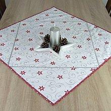 Úžitkový textil - SALOMA - strieborno vínová hviezdna kombinácia - obrúsok štvorec 65x65 - 11164421_