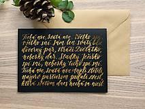 Papiernictvo - Vianočná pohľadnica - Tichá noc (Zlatá) - 11164201_