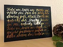 Papiernictvo - Vianočná pohľadnica - Tichá noc (Zlatá) - 11164204_