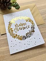Papiernictvo - Vianočná pohľadnica - Venček (Zlatá) - 11164254_