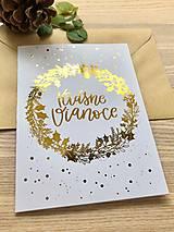 Vianočná pohľadnica - Venček (Zlatá)