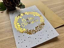 Papiernictvo - Vianočná pohľadnica - Venček (Zlatá) - 11164269_