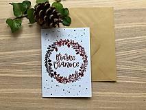 Papiernictvo - Vianočná pohľadnica - Venček (Červená) - 11164289_