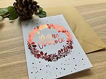 Papiernictvo - Vianočná pohľadnica - Venček (Červená) - 11164291_