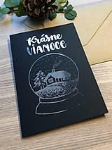 Papiernictvo - Vianočná pohľadnica - Krajinka (čierna pohľadnica so strieborným laminovaním) - 11164387_