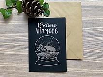Vianočná pohľadnica - Krajinka (čierna pohľadnica so strieborným laminovaním)