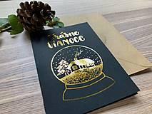 Papiernictvo - Vianočná pohľadnica - Krajinka (čierna pohľadnica so zlatým laminovaním) - 11164425_