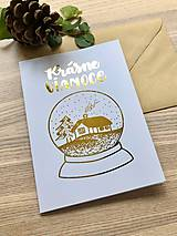 Papiernictvo - Vianočná pohľadnica - Krajinka (biela pohľadnica so zlatým laminovaním) - 11164434_