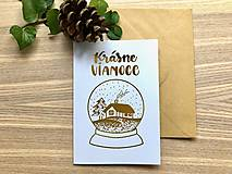 Papiernictvo - Vianočná pohľadnica - Krajinka (biela pohľadnica so zlatým laminovaním) - 11164447_