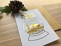 Papiernictvo - Vianočná pohľadnica - Krajinka (biela pohľadnica so zlatým laminovaním) - 11164448_