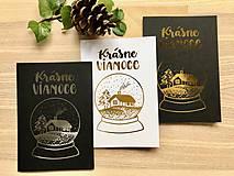 Papiernictvo - Vianočná pohľadnica - Krajinka (biela pohľadnica so zlatým laminovaním) - 11164449_