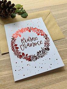 Papiernictvo - Vianočná pohľadnica - Venček (Červená) - 11164288_