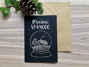 Papiernictvo - Vianočná pohľadnica - Krajinka (čierna pohľadnica so strieborným laminovaním) - 11164392_