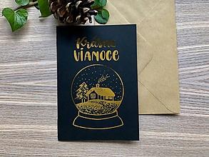 Papiernictvo - Vianočná pohľadnica - Krajinka (čierna pohľadnica so zlatým laminovaním) - 11164422_