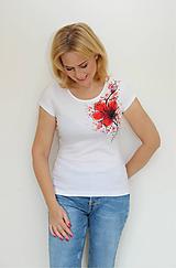 Tričká - Maľovaný mak na tričku... - 11163516_