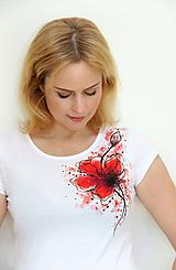 Tričká - Maľovaný mak na tričku... - 11163553_