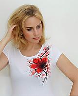 Tričká - Maľovaný mak na tričku... - 11163613_