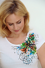 Tričká - Maľované tričko s vážkou... - 11164294_