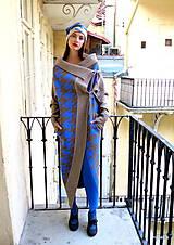 Kabáty - Plášť TÝNA- retro vzor velká kohoutí stopa - 11162285_