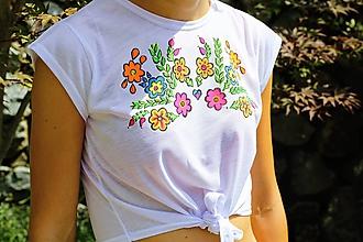 "Tričká - Maľované tričko ""NEON folk"" - 11163213_"