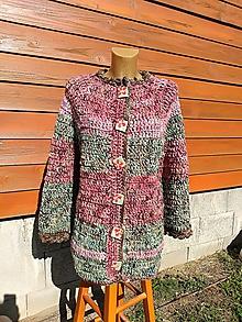 Kabáty - Háčkovaný vlnený kabát - 11163688_