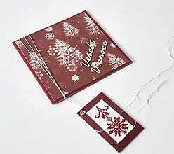 Papiernictvo - Veselé Vianoce - vyšívaný pozdrav - 11162952_