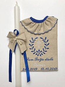 Detské oblečenie - krstná košieľka k10 ľanová a sviečka na krst s ľanovou mašličkou - 11163853_