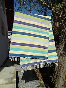 Úžitkový textil - modré a zelené tenké prúžky - 11166947_