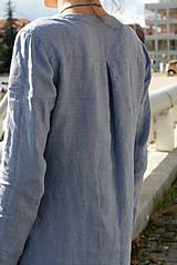 Tuniky - Ľanová tunika Ivica modrá - 11166297_