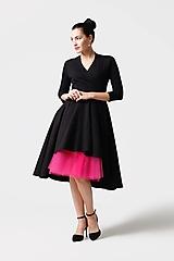 Šaty - Šaty cross Midi asymetrické čierne - 11165050_