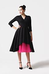 Šaty - Šaty cross Midi asymetrické čierne - 11165053_
