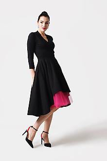 Šaty - Šaty cross Midi asymetrické čierne - 11165045_
