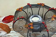 Svietidlá a sviečky - Podzimní. Drátovaný svícen. - 11165381_