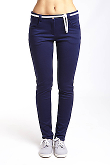 Nohavice - Nohavice modré so šnúrkou -predľžené veľkosti  pre vysoké ženy - 11165762_